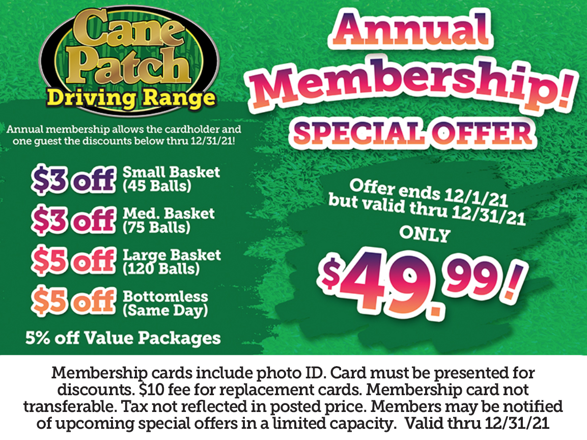 Cane Patch Driving Range Annual Membership